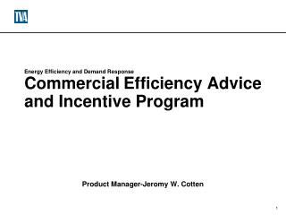 Energy Efficiency and Demand Response Commercial Efficiency Advice and Incentive Program