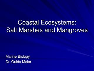 Coastal Ecosystems:  Salt Marshes and Mangroves