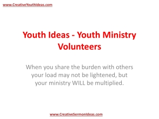 Youth Ideas - Youth Ministry Volunteers