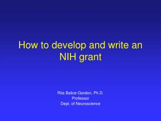 How to develop and write an NIH grant
