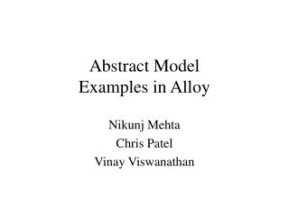 Abstract Model  Examples in Alloy