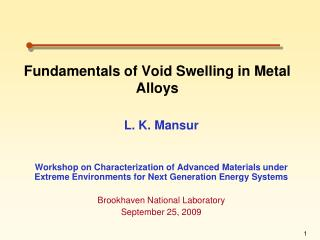 Fundamentals of Void Swelling in Metal Alloys