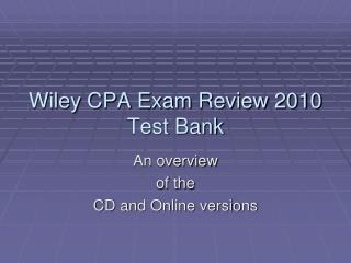 Wiley CPA Exam Review 2010 Test Bank