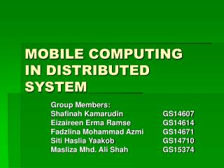 MOBILE COMPUTING IN DISTRIBUTED SYSTEM