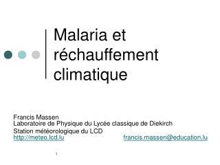 Malaria et r chauffement climatique