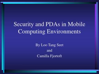 Security and PDAs in Mobile Computing Environments