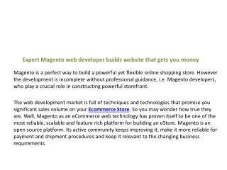 Expert Magento web developer builds website that gets you mo