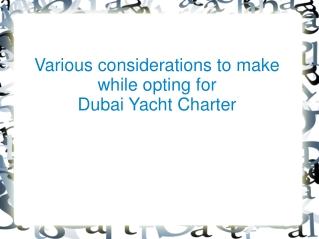 Dubai Yacht Charter