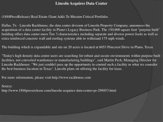 Lincoln Acquires Data Center