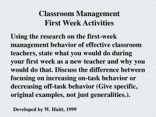First Week Management Activities