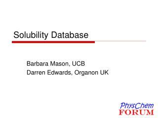 Solubility Database