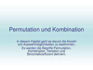 Permutation und Kombination