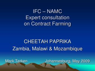 IFC   NAMC Expert consultation  on Contract Farming