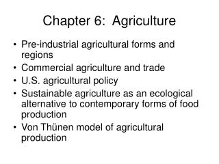 Chapter 6:  Agriculture