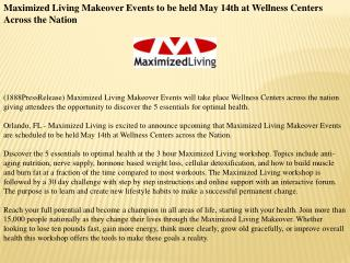 Maximized Living Makeover Events to be held May 14th at Well