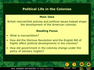 Political Life in the Colonies