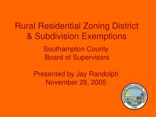 Rural Residential Zoning District  Subdivision Exemptions