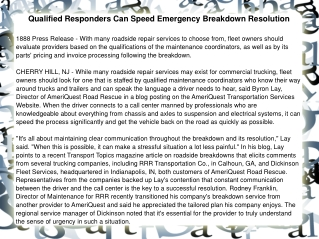 Qualified Responders Can Speed Emergency Breakdown