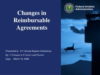Changes in Reimbursable Agreements