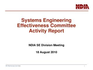 Systems Engineering Effectiveness Committee Activity Report