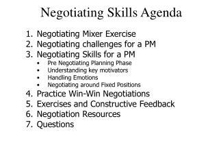 Negotiating Skills Agenda