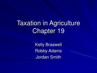 Taxation in Agriculture Chapter 19