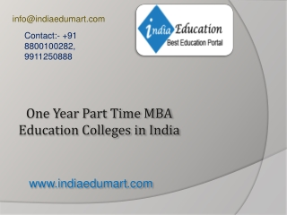 One Year Part Time MBA Education Colleges in India