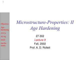 Microstructure-Properties: II Age Hardening