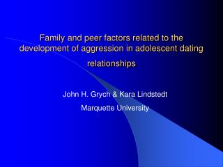 Family and peer factors related to the development of aggression ...