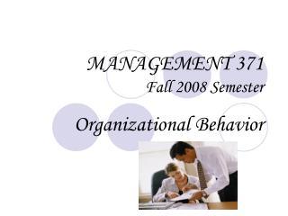 MANAGEMENT 371 Fall 2008 Semester