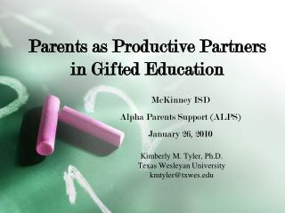Parents as Productive Partners in Gifted Education