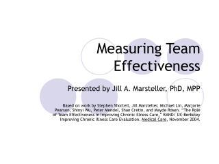 Measuring Team Effectiveness