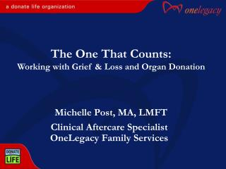 Clinical Aftercare Specialist OneLegacy Family Services