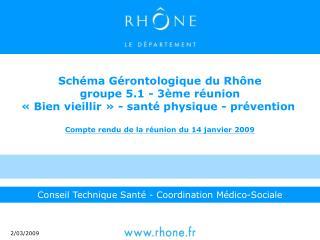Sch ma G rontologique du Rh ne groupe 5.1 - 3 me r union   Bien vieillir   - sant  physique - pr vention   Compte rendu