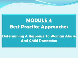 MODULE 4  Best Practice Approaches   Determining A Response To Woman Abuse And Child Protection