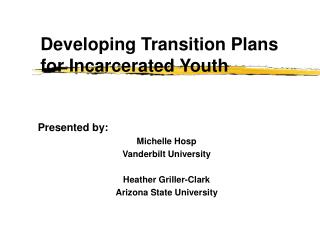Developing Transition Plans for Incarcerated Youth
