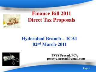Finance Bill 2011 Direct Tax Proposals