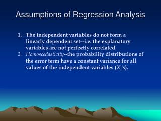 Assumptions of Regression Analysis