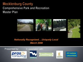 Mecklenburg County Comprehensive Park and Recreation  Master Plan