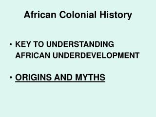 African Colonial History