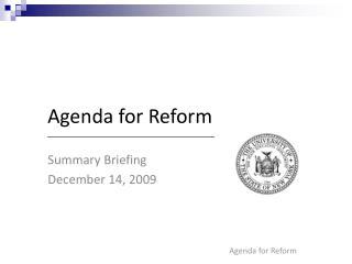 Agenda for Reform
