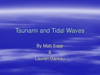 Tsunami and Tidal Waves