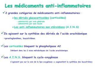 Les anti-inflammatoires st ro diens