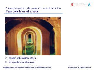 Dimensionnement des r servoirs de distribution d eau potable en milieu rural