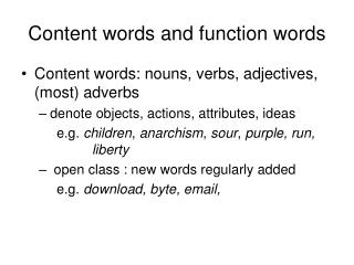 Content words and function words
