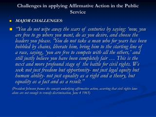 Challenges in applying Affirmative Action in the Public Service