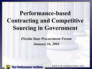 Performance-based Contracting and Competitive Sourcing in Government
