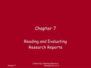 Reading and Evaluating Research Reports