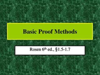 Basic Proof Methods