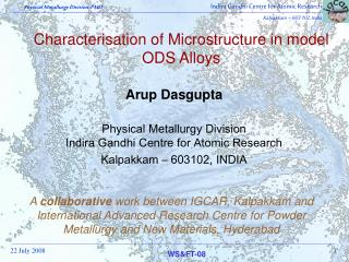 Characterisation of Microstructure in model ODS Alloys